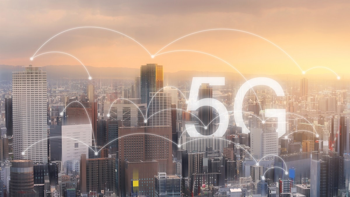 Debunking Dangers of 5G pictured over a city